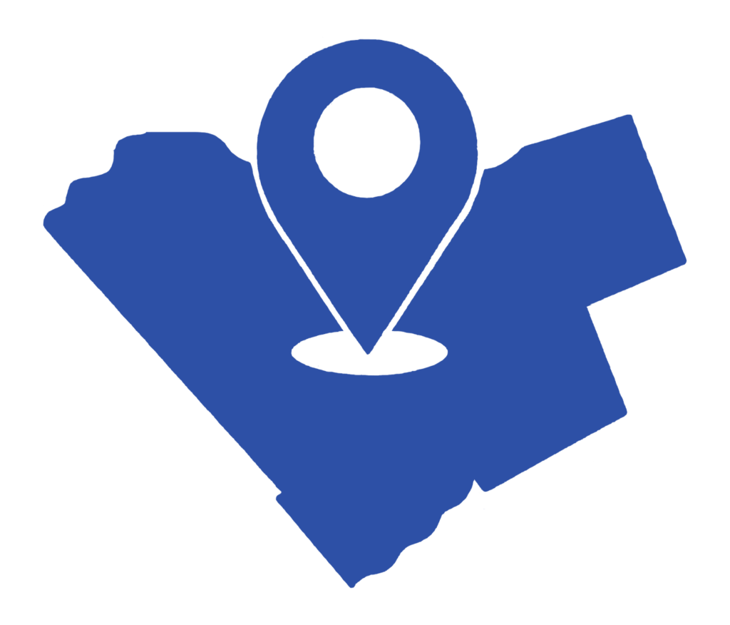 Illustration of the city of Ottawa with a location tag in the centre.
