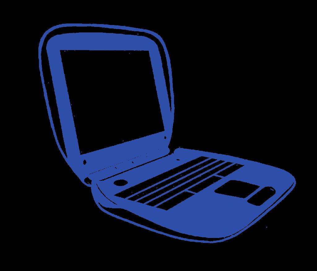 A stylized illustration of a laptop.