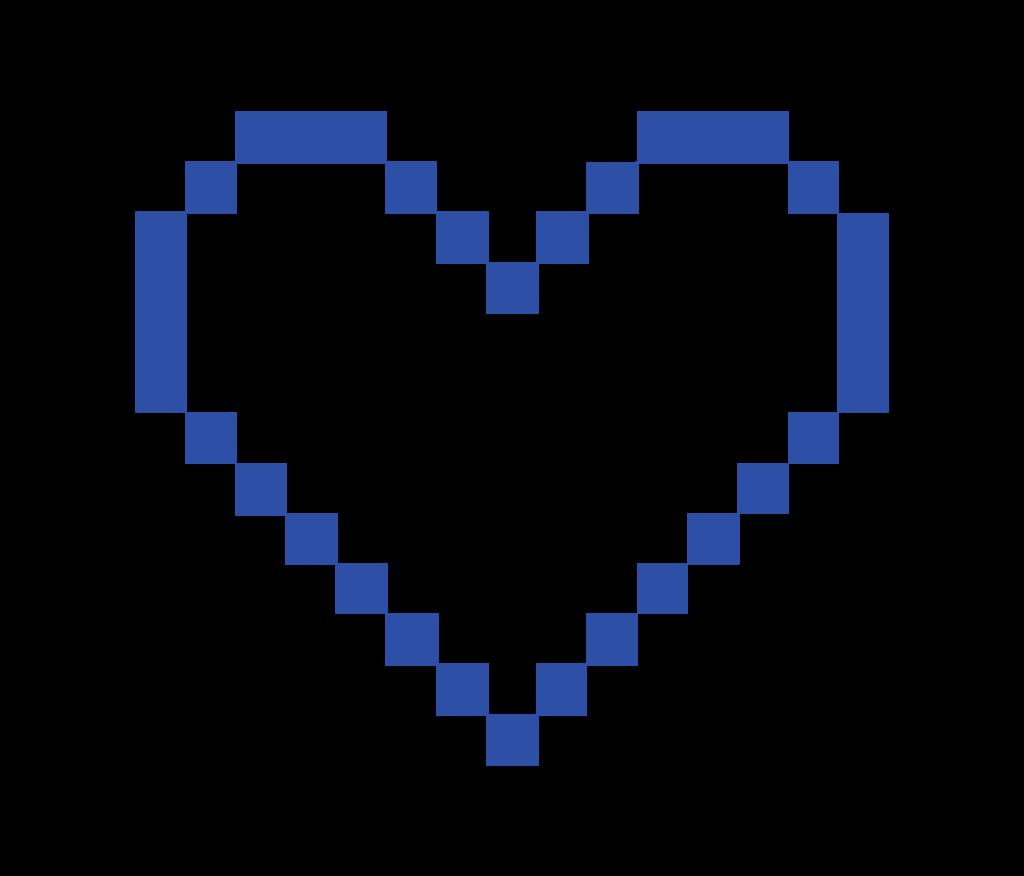 Cute digital heart outline in blue.