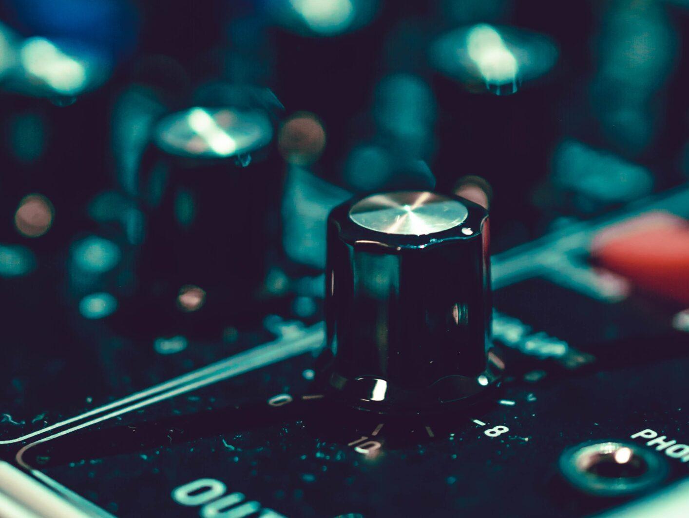 Close up shot of a mixing board