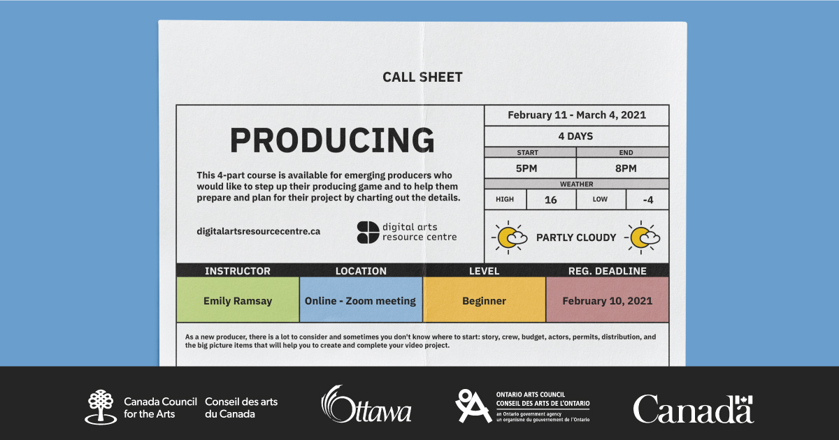 A cute call sheet with information about the Producing course.