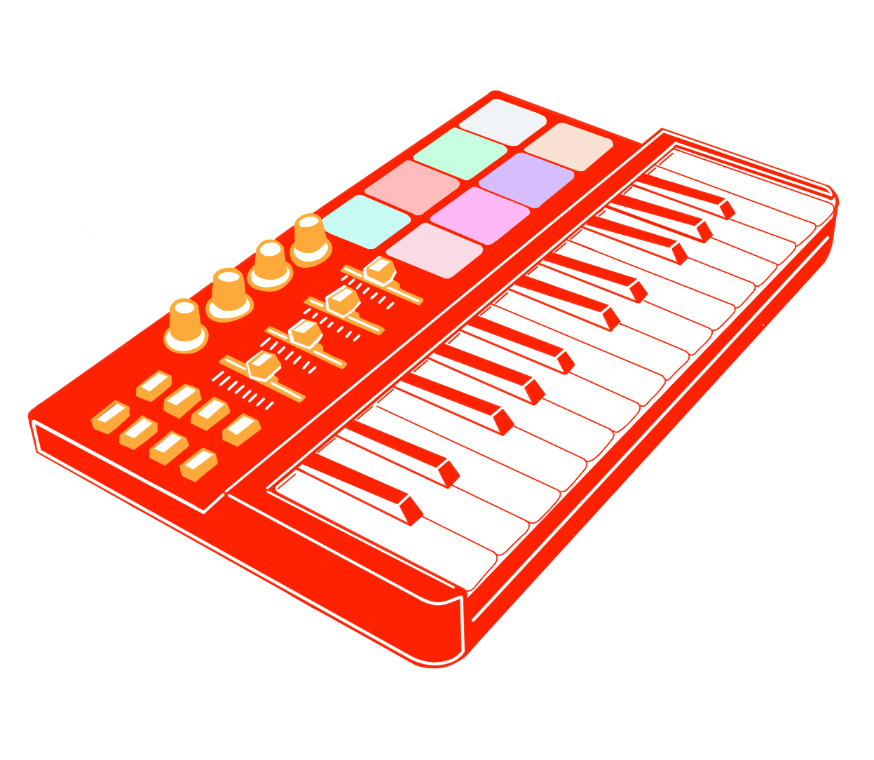 Illustration of a red synthesizer with white keys.