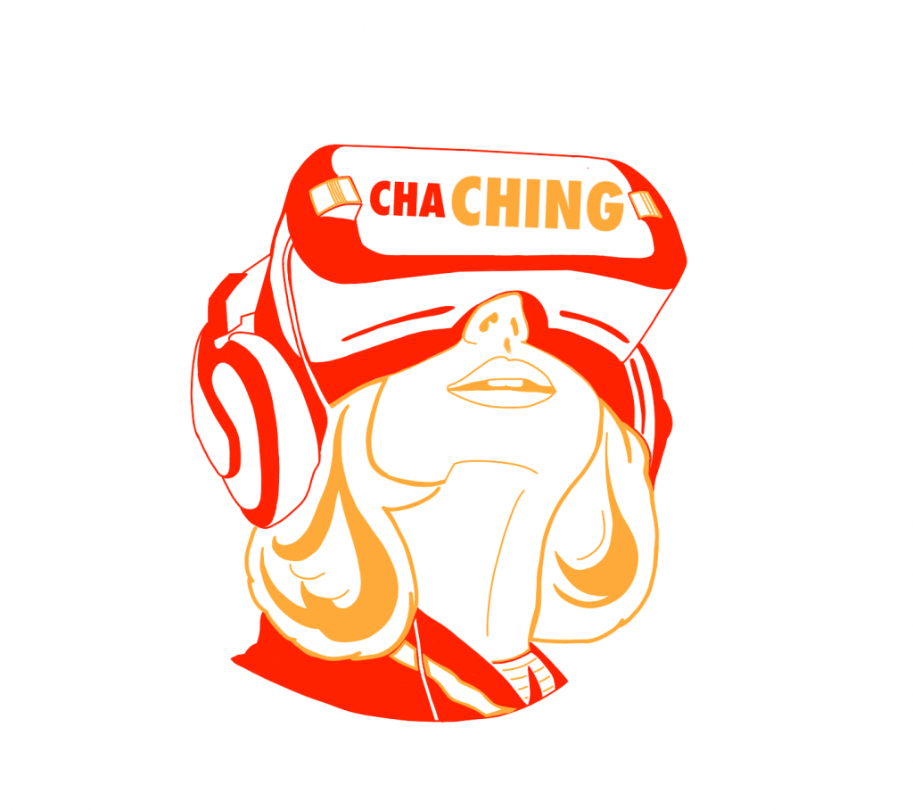 Red and Yellow illustration of a woman using a VR headset.