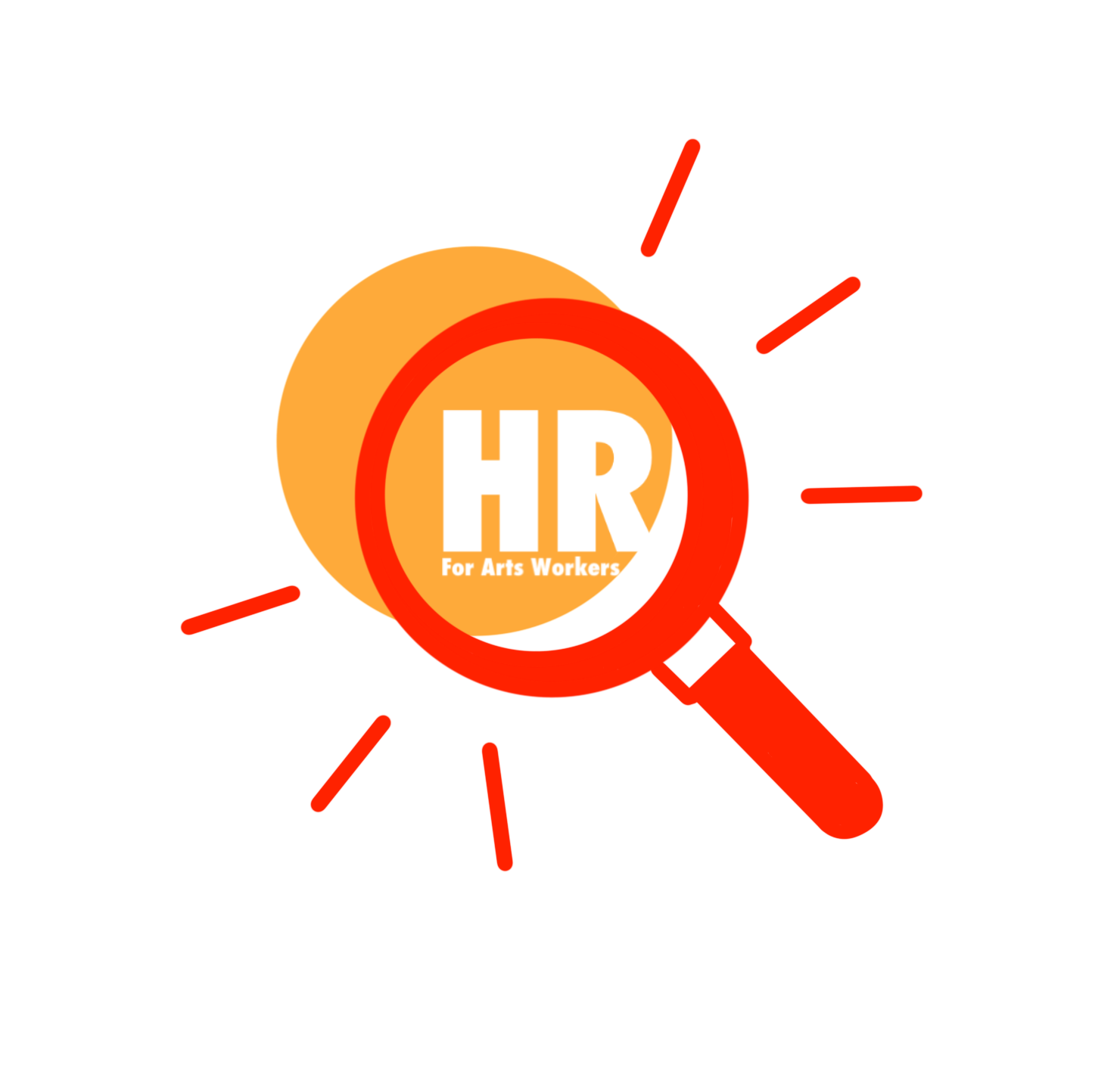 Illustration of a red magnifying glass. Inside the glass its written 'HR for Arts Workers'.