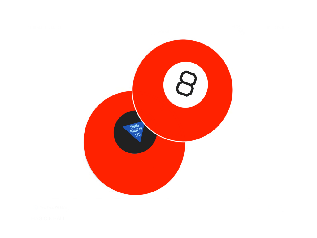 Illustration of two red magic 8-balls. One of them has the words 'Signs that point to yes' written in it.