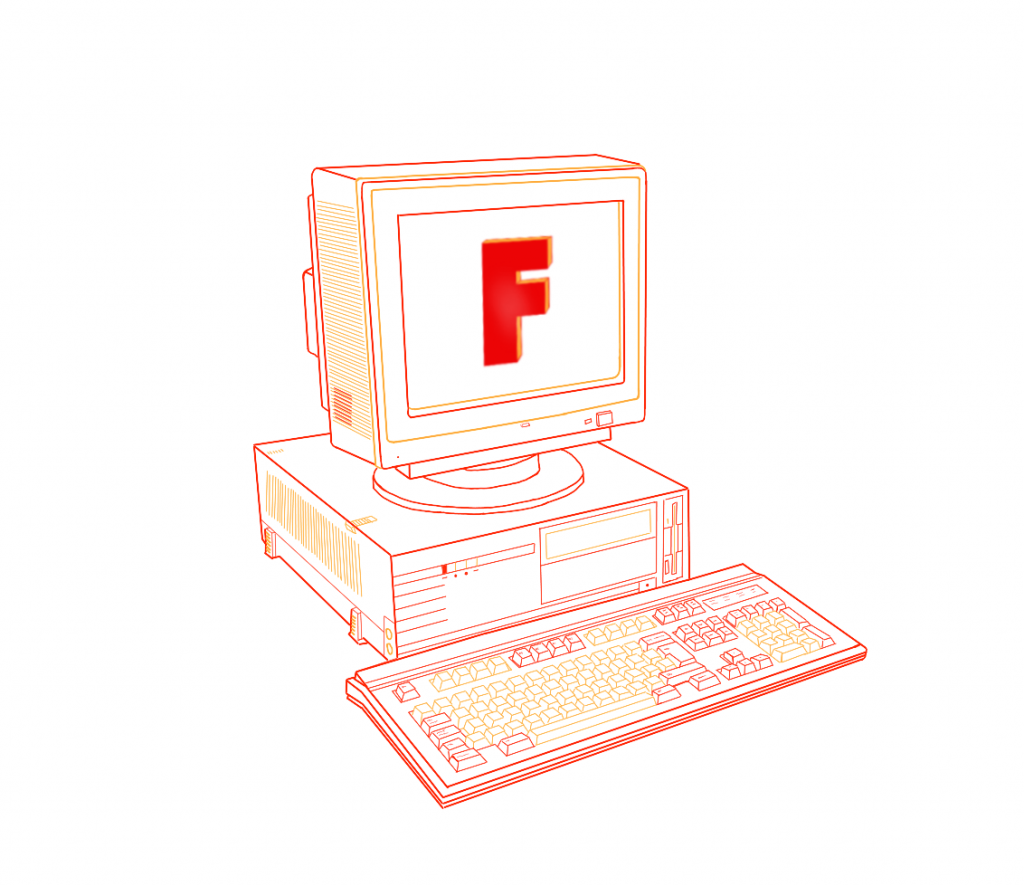 Illustration of a desktop computer with the letter F written on its screen.