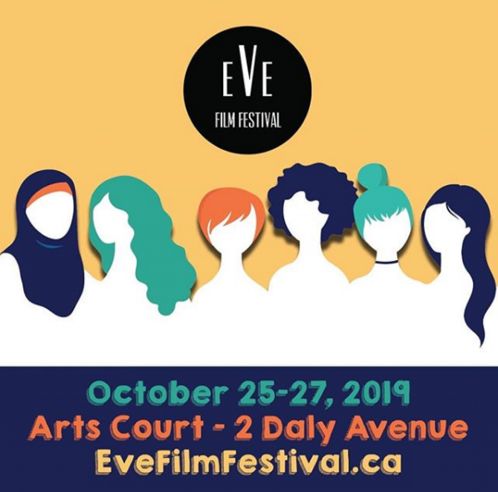 Poster of the Eve Film Festival featuring sillouettes of women with different hairstyles over a yellow background.