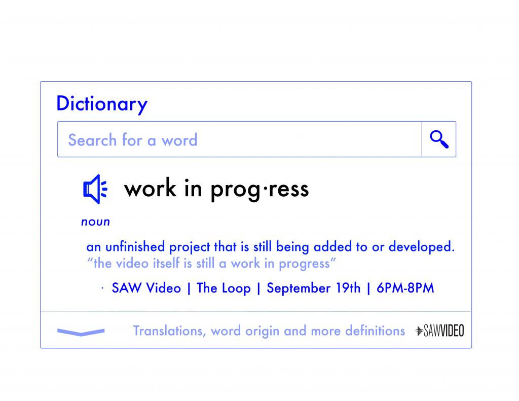 Poster of the W.I.P. Gathering featuring a virtual dictionary entry of the term 'Work In Progress'.