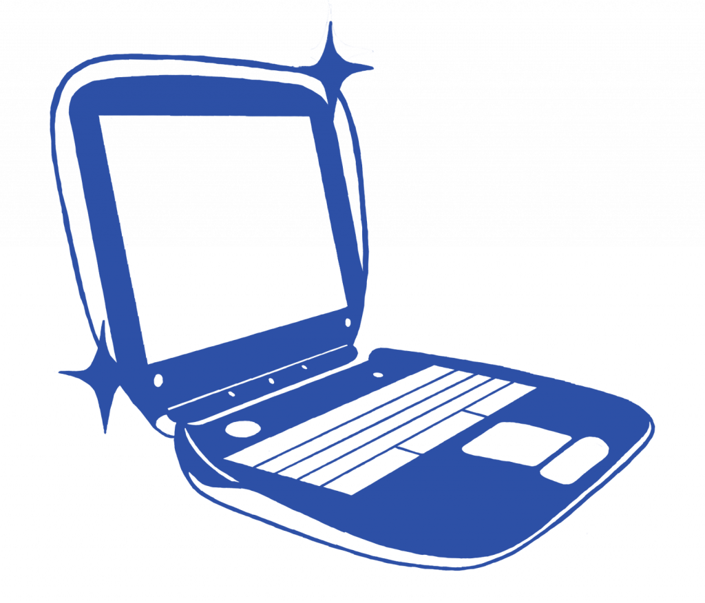 A stylized illustration of a laptop with twinkles on the side.