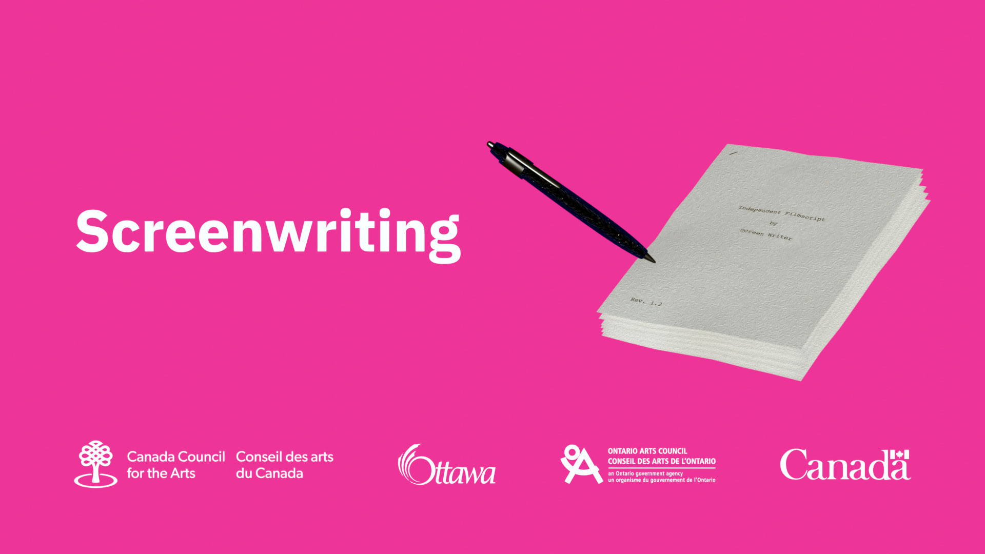 script and pen in a pink background