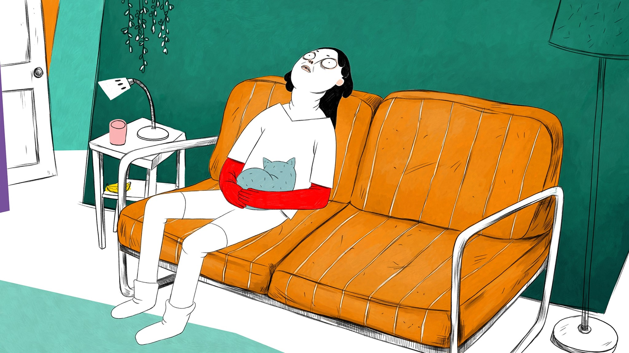 Illustration of someone resting with a cat on their lap. They appear to be on a mid-century modern couch with orange, fabric cushions and fine, metalic legs. The walls are turquoise.
